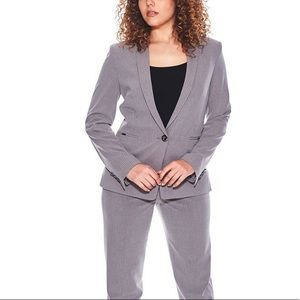 Pinstriped Seersucker Notch Collar Blazer Jacket